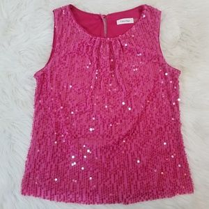 Calvin Klein Sleeveless Pink Tank Top with Sequins